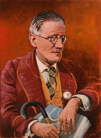 Portrait of James Joyce Holding Ulysses by Jeffrey Morgan on artnet