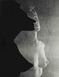 shadow profile behind veil by erwin blumenfeld