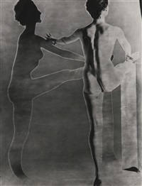 solarised double nude with ballet barre, new york by erwin blumenfeld