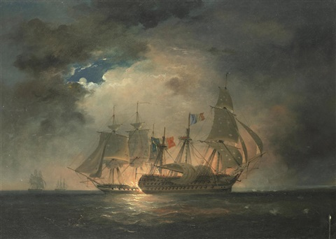 The Guillaume Tell in action with H.M.S. Penelope, with H.M.S. ...