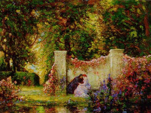Lovers in an enchanted garden by Thomas Edwin Mostyn on artnet