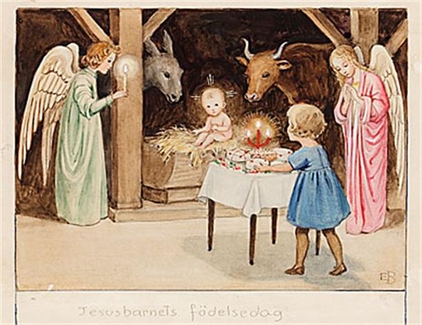 jesusbarnets födelsedag Jesusbarnets födelsedag from Årets saga by Elsa Beskow on artnet jesusbarnets födelsedag