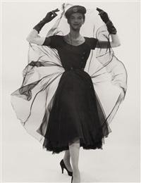 anne st. marie in black chiffon by erwin blumenfeld