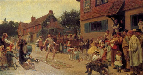 Strolling players by Francis James Barraud on artnet