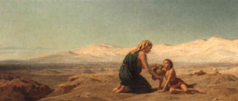 Hagar and Ishmael in the desert by Frederick Goodall on artnet