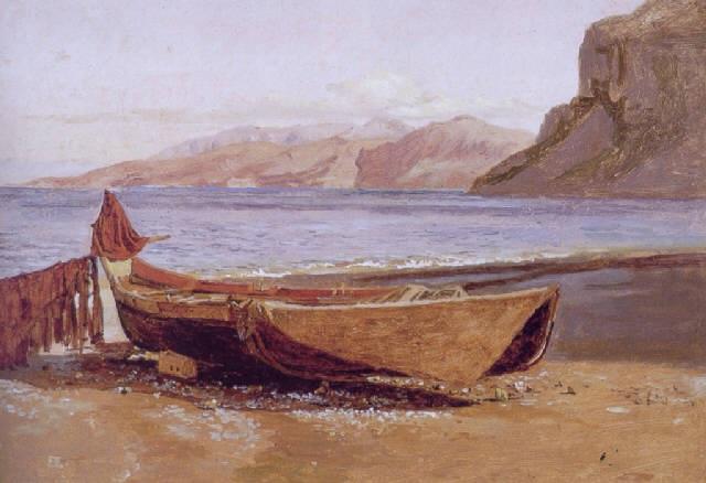 Parti af Marina Grande på Capri med en fiskerbåd i forgrunden by Christen  Købke on artnet