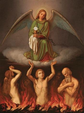 Rien de souillé n'entrera au Ciel ! Tout sur le Purgatoire... - Page 2 Josef-von-f%C3%BChrich-the-eucharist-comforting-the-souls-in-purgatory