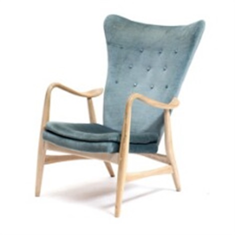 A Beech Highback Easy Chair Upholstered In Seat Back And Loose Cushion With Petrol