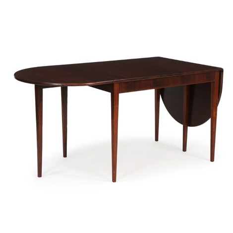 Dining Table Of Brazilian Rosewood With Two Flip Up Leaves By Frits Henningsen