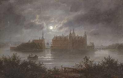 Frederiksborg Slot i måneskin by Ferdinand Richardt on artnet