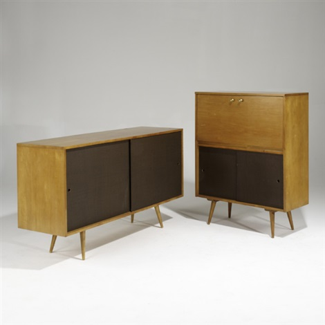 Planner Group Two Door Cabinet And Drop Down Desk By Paul Mccobb