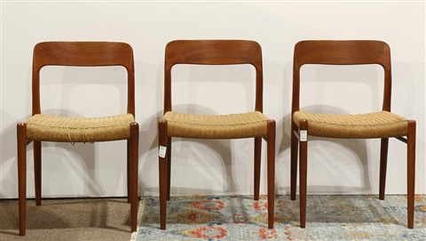 Ubrugte lot of 3 Niels O. Møller from J.L. Møller teak side chairs, model LV-25