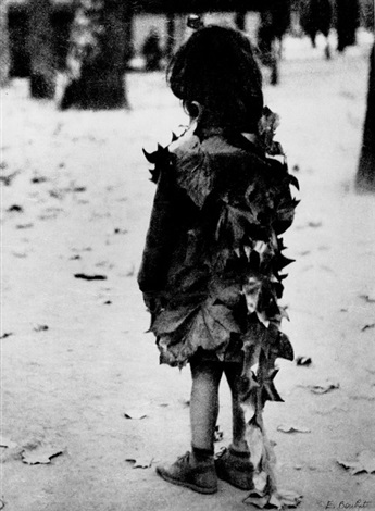 La petite fille aux feuilles mortes, Jardin du Luxembourg, Paris by Edouard  Boubat on artnet