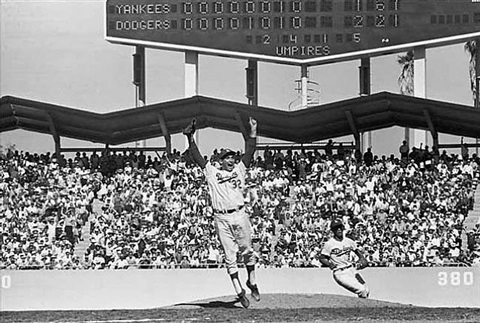 1963 world series final game - sandy koufax (jumping/celebrating), maury wills, dodger stadium, los angeles, ca by neil leifer