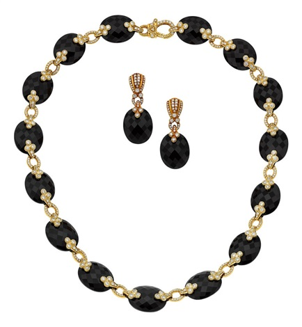 Diamond Black Onyx Gold Jewelry Suite