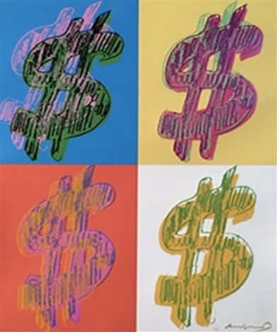 Dollar Sign Quad Print By Andy Warhol