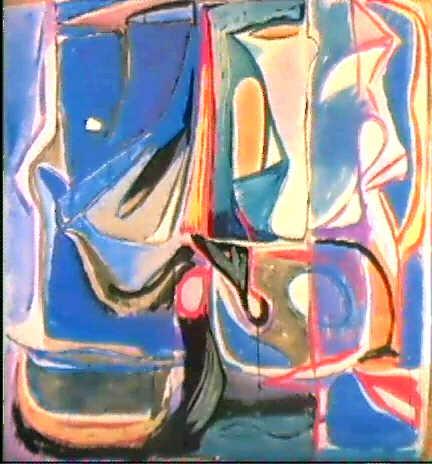 Ein Bild von Bram van Velde ohne Titel. Den Aufsatz Die Welt und die Hose veröffentlichte Becket 1945 in den Cahiers d'Art um den befreundeten Malern Geer und Bram van Velde, die bis dahin recht unbekannt waren, in Paris Aufmerksamkeit zu verschaffen.
