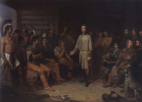 Washington and the Indian Council - Junius Brutus Stearns Painting