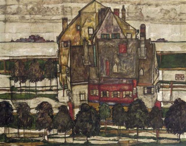 Egon Schiele, Einzelne häuser - Häuser mit Bergen (+ Monk I, fragment, verso)