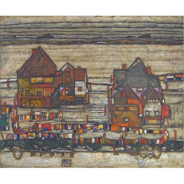 Egon Schiele, Häuser mit bunter Wäsche (Vorstadt II) (Houses with laundry (Suburb II))